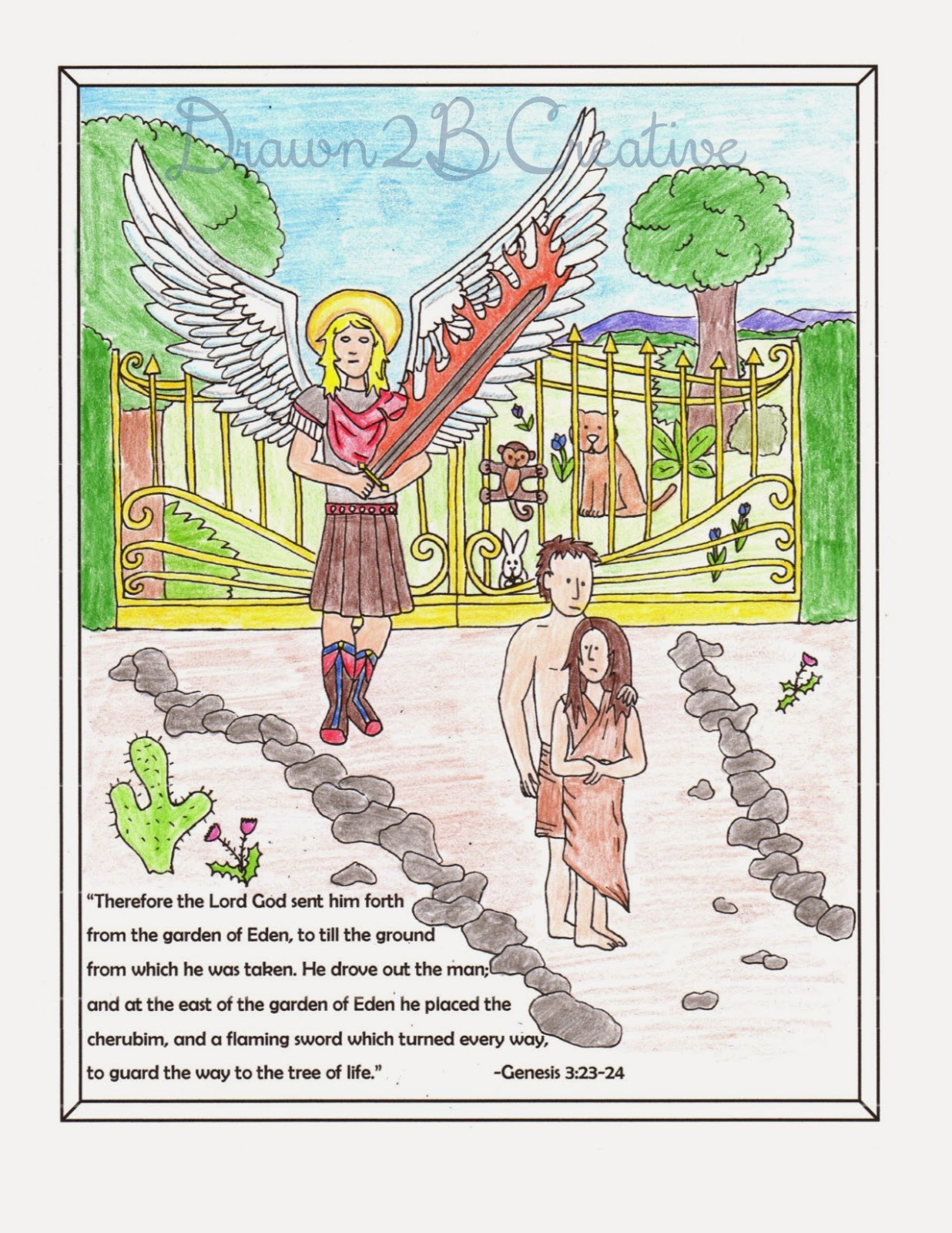 Adam and Eve Old Testament Coloring Pages BiblePrintables ... | 1600x1236