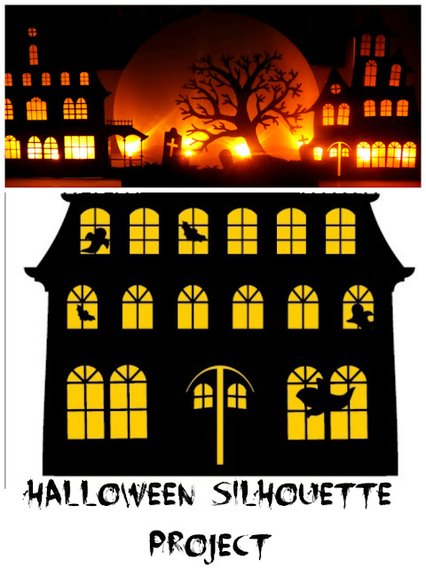 Halloween House Silhouette with Free Printable