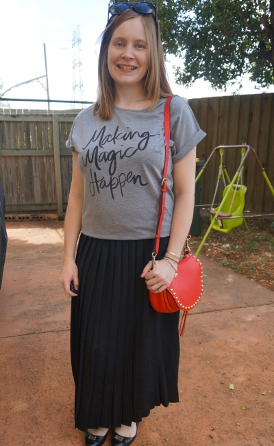 AwayFromBlue | Grey graphic tee pleated skirt red Rebecca Minkoff saddle bag