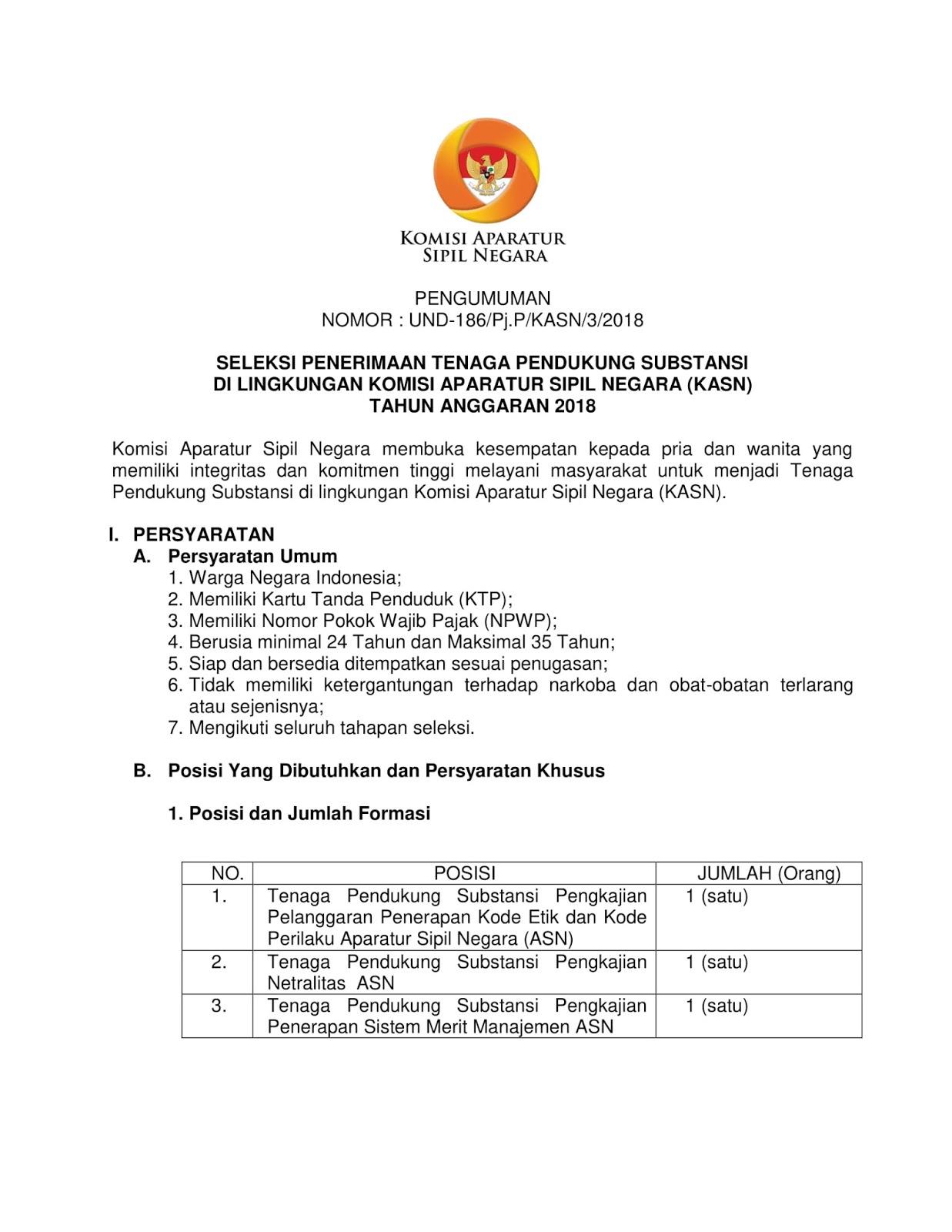 Lowongan Kerja  Rekrutmen Terbaru Tenaga Pendukung di Instansi Komisi Aparatur Sipil Negara (KASN)  Agustus 2018