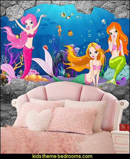 seashell headboard mermaid wallpaper mural fuzzy bedding