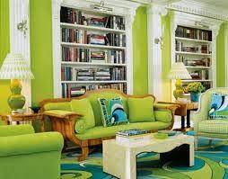 Diseño sala azul y verde