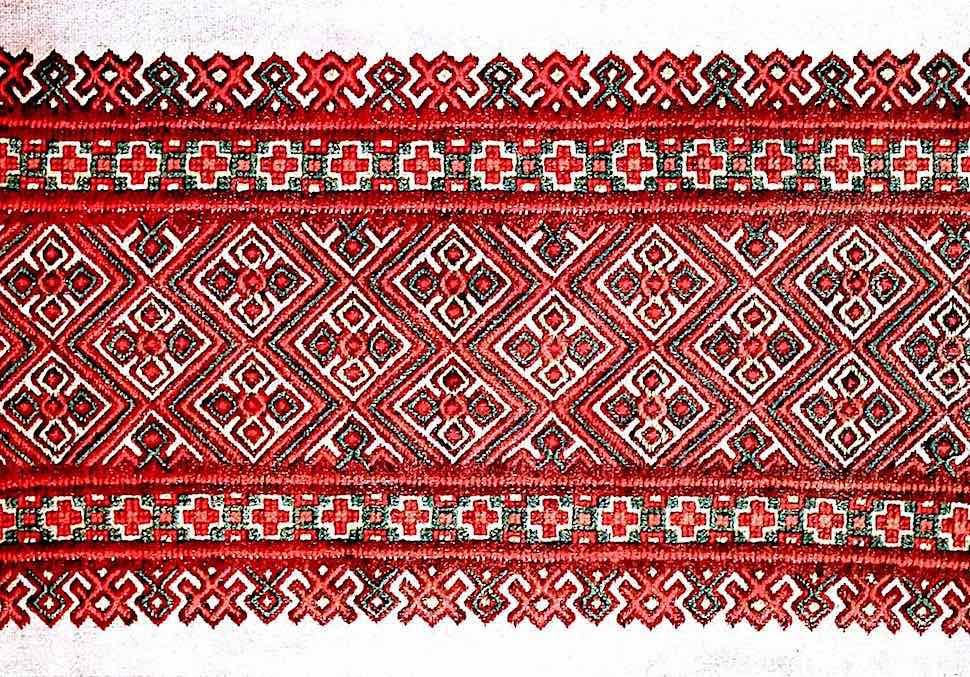 old Russia cloth in red