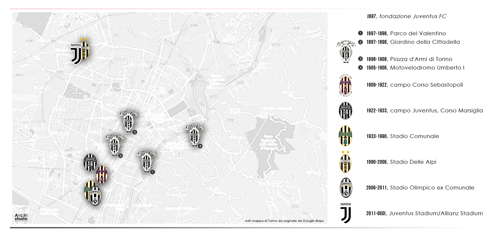 storia stadi juventus mappa
