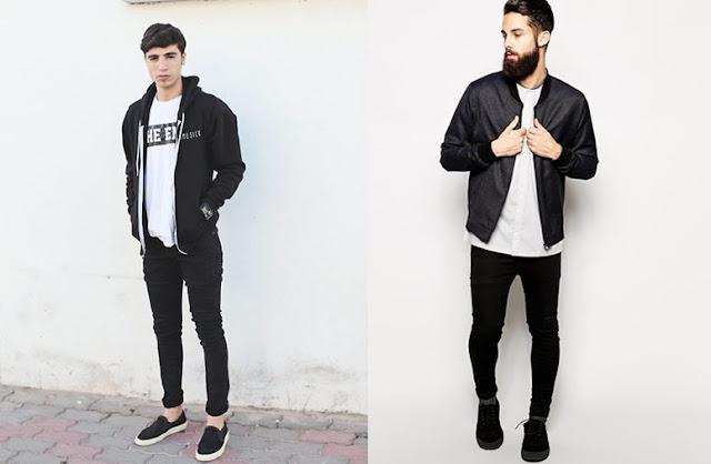 Look Masculino preto e branco para homens magros