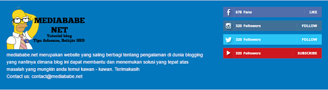 Cara Membuat Dua Kolom Footer About dan Media Sosial Counter Di Blog