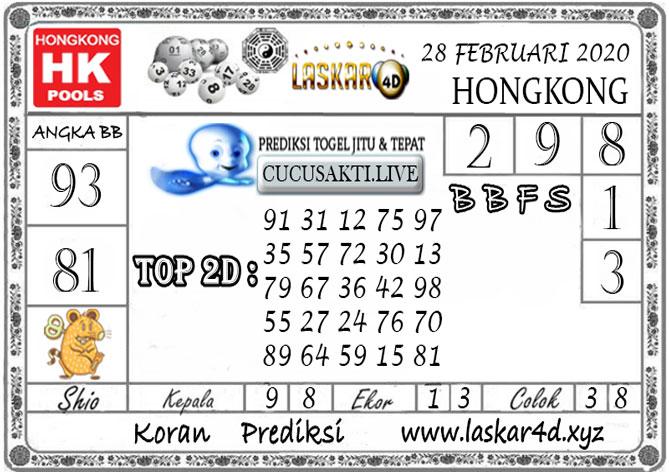 Prediksi Togel HONGKONG LASKAR4d 28 FEBRUARI 2020