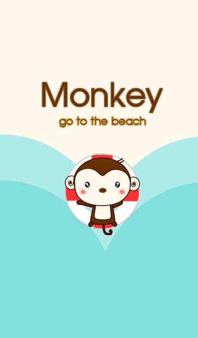 Monkey go to the beach