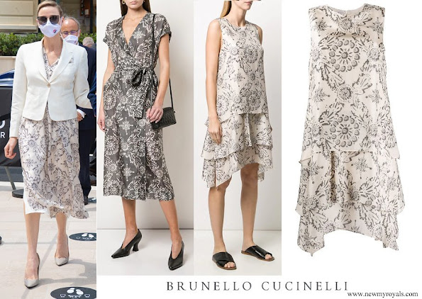 Princess Charlene wore Brunello Cucinelli Exotic silk pongee dress
