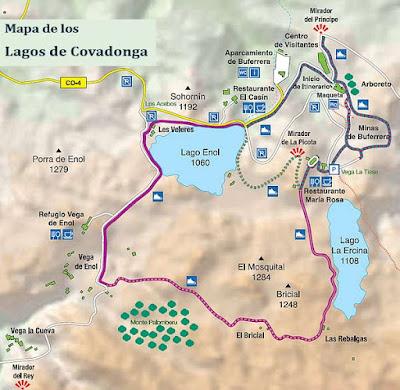 Mapa de senderos en Lagos de Covadona