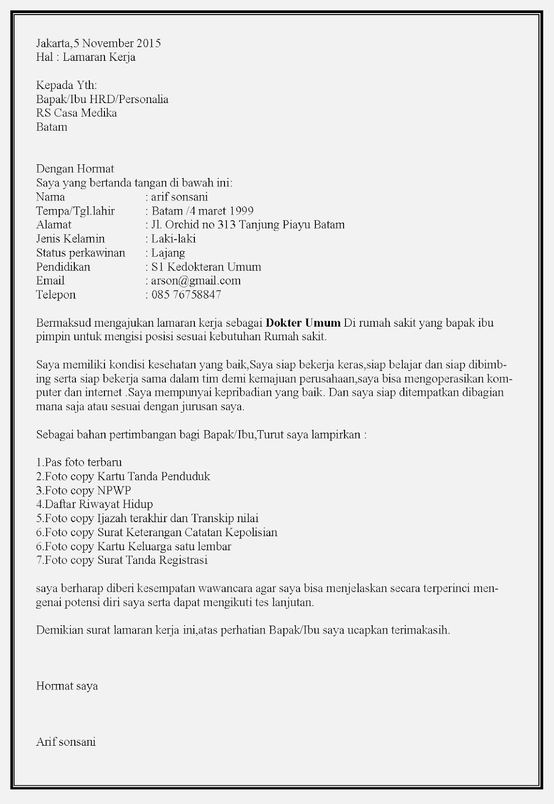 Contoh surat lamaran kerja dokter di rumah sakit Casa Medika