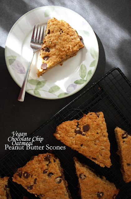 vegan oatmeal peanut butter chocolate chip scones