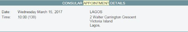 US Visa Lagos embassy interview appointment details