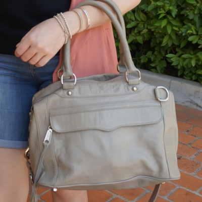silver bracelet stack and Rebecca Minkoff soft grey slouchy morning after mini MAB MAM bag