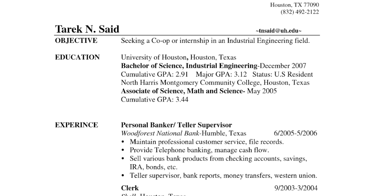 Resume Objective For Bank Teller Position. Bank Teller Resume