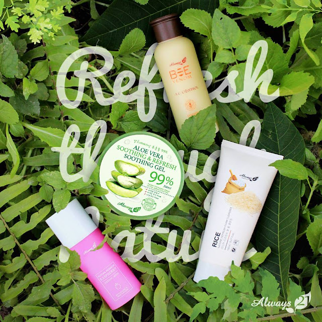 Always 21 Refresh&soothing Aloe vera gel 99%, Rice Foam cleanser, Always21 Nature Refresh Raspberry Sleeping Mask