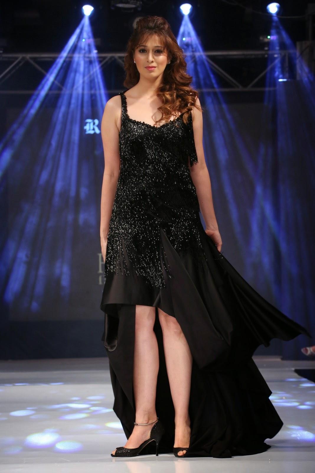 Filmi Masala Lakshmi Rai Hairy Armpit In Black Long Dress -8241