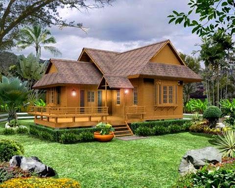 model rumah kayu minimalis khas pedesaan