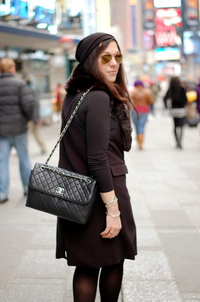 New York Fashion Week outfit idea Rachel Comey dress faux fur
