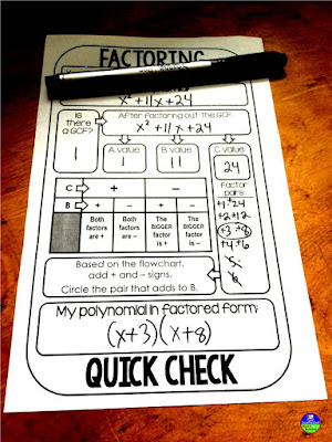 Factoring Quick Check Template