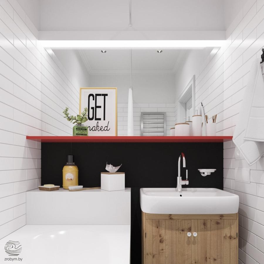 Kolorowe mieszkanie w Mińsku, wystrój wnętrz, wnętrza, urządzanie mieszkania, dom, home decor, dekoracje, aranżacje, biel, white, kolory, colors, bathroom, łazienka
