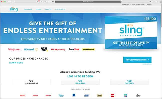 pagina di riscatto dei regali di SlingTV