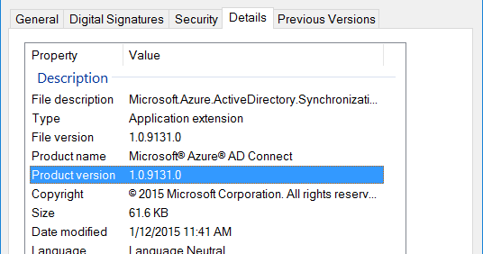Nod's Blog: Determine the Azure AD Connect Installation File Version