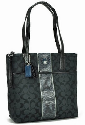 Coach Black Signature Python Stripe Tote Shoulder Bag