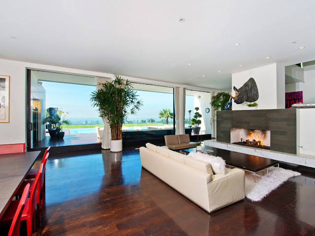 Photo of modern living room interiors in the Bel Air modern residence