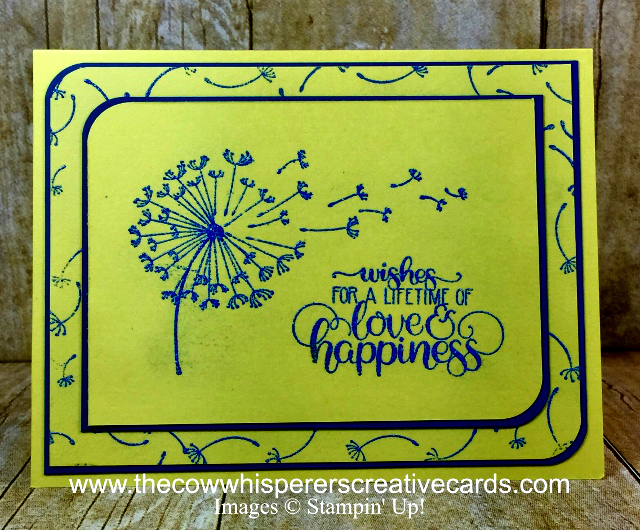 Card, Dandelion Delight, Blueberry Bushel Embossing Powder, Detailed Trio Punch