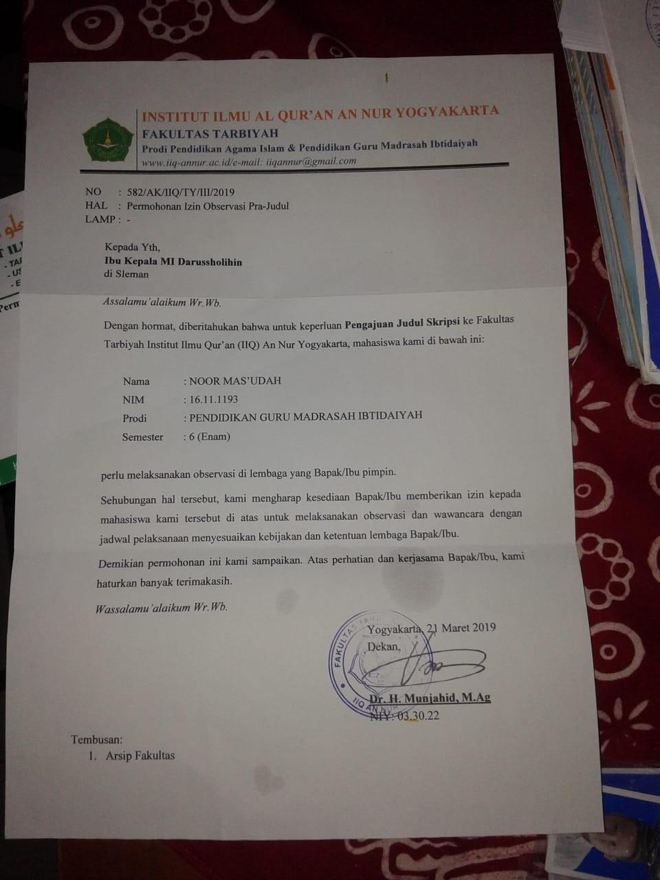 Contoh Surat Permohonan Izin Observasi Pra Judul Untuk Skripsi