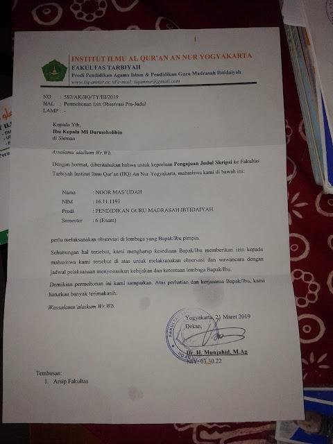 Contoh Surat Permohonan Izin Observasi Pra-Judul untuk Skripsi