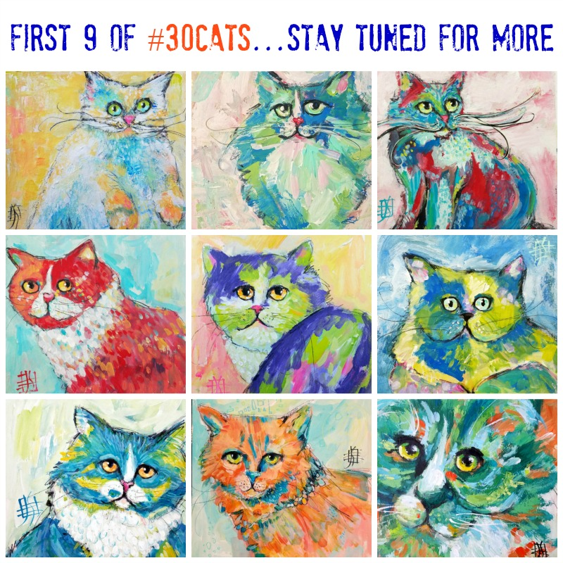first 9 of my #30Cats project....30 cats in 30 days