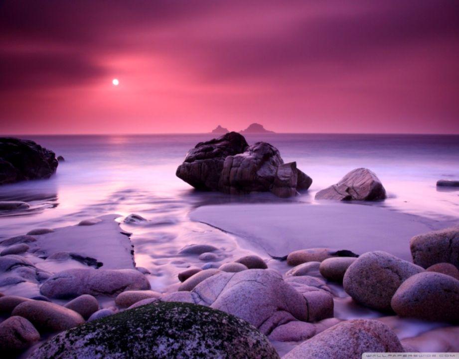 Purple Ocean Beach Sunset Hd Wallpaper Cute Wallpapers