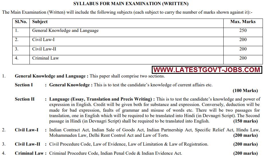 Delhi Judicial service exam syllabus for 147 new jobs in High Court