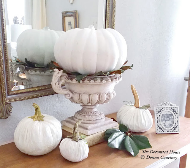 The Decorated House : Thanksgiving Fall Decoration : White Velvet and Painted Pumpkins
