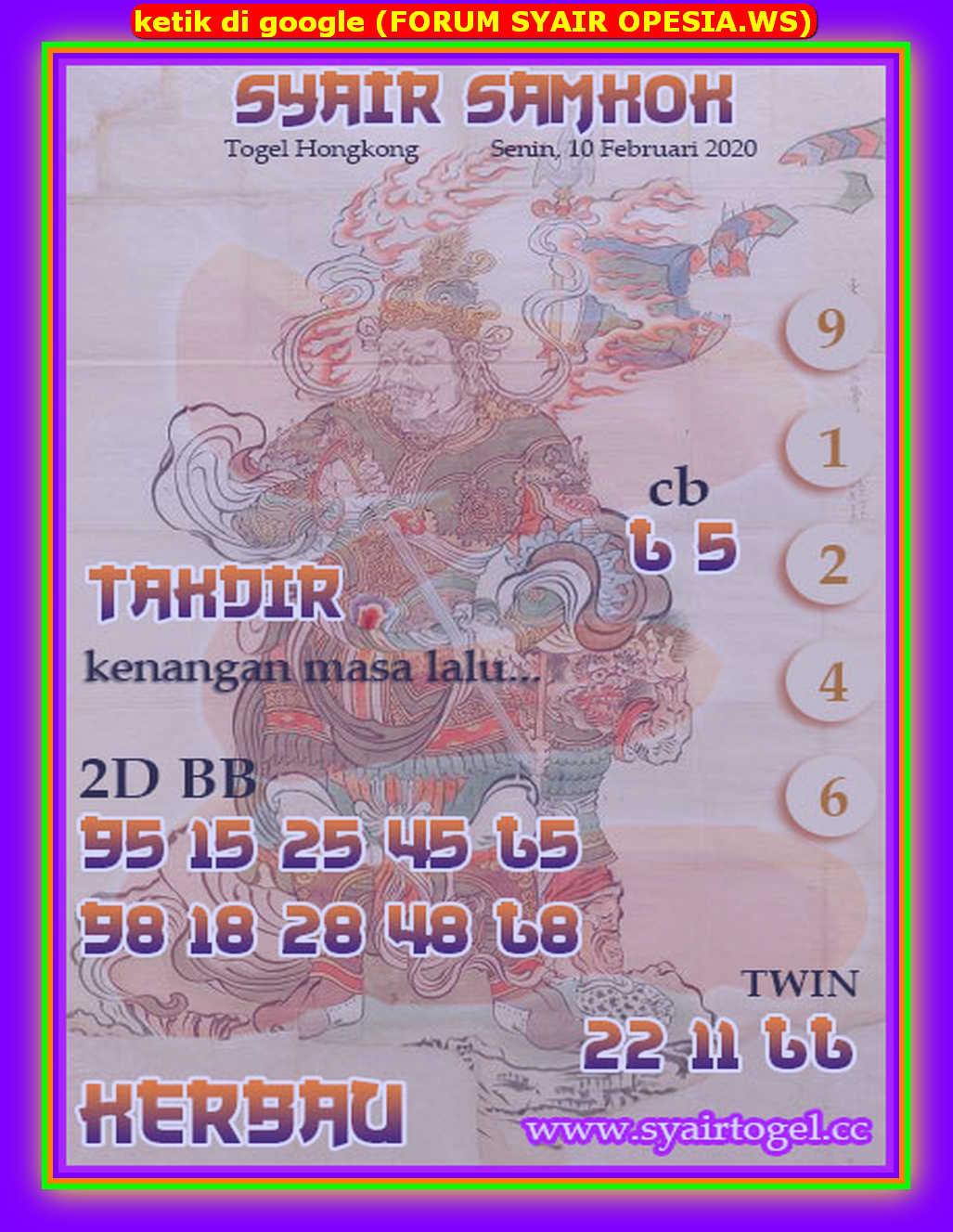 Kode syair Hongkong Senin 10 Februari 2020 197