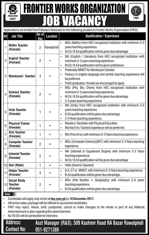 FRONTIER WORKS ORGANIZATION VACANCIES 2017,Teaching, Jobs 2017,Rawalpindi jobs,Female teacher jobs,