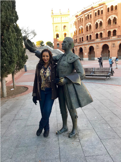Bianca-Ojukwu-at-the-Bullfighting-Arena-in-Madrid-Spain-2