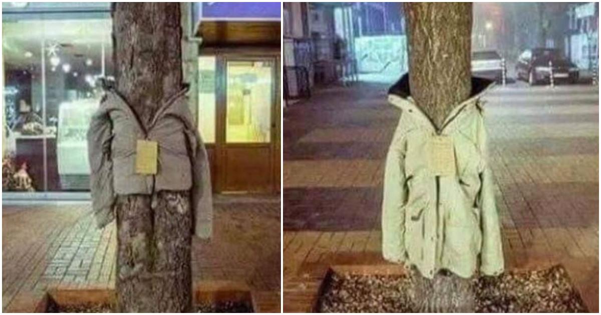 Στη Λάρισα «ντύνουν» τα δέντρα με μπουφάν - Δάκρυσαν ολοι οι αστεγοι οταν το ειδαν