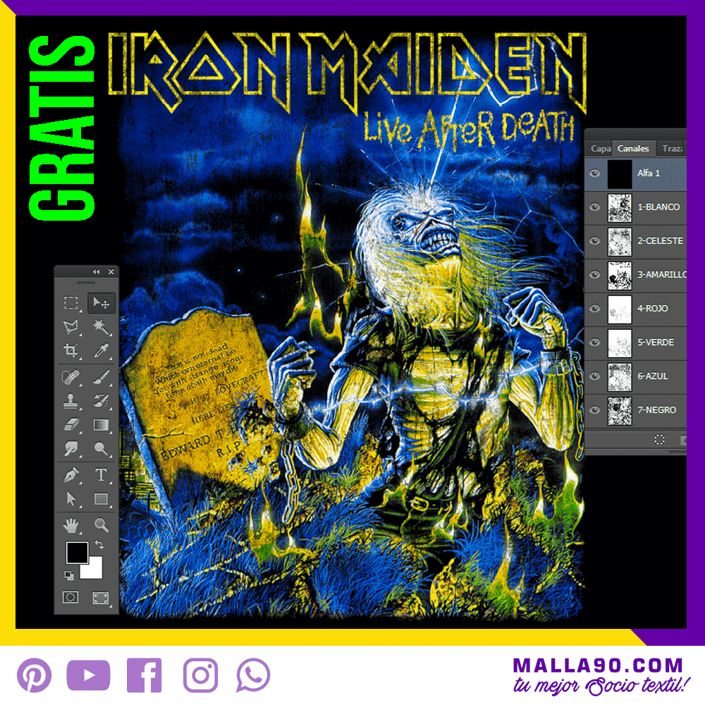 Diseños gráficos gratis - Live After Death Iron Maiden