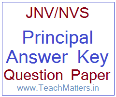 image : NVS Principal Answer Key 2019 Question Paper @ TeachMatters