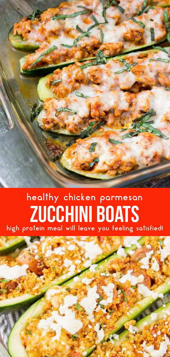 Chicken Parmesan Zucchini Boats #chickenfoodrecipes #lunchideas #dinnerrecipes