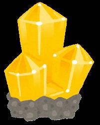 鉱石のイラスト(台座付き・黄色)