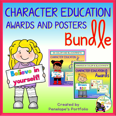 140 Character Education - Social Skills Posters and Awards