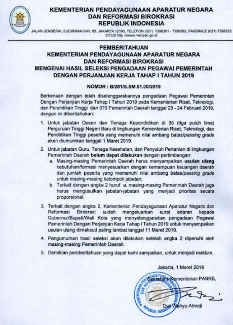 Pengumuman Hasil Seleksi PPPK P3K Tahap 1 Tahun 2019, tomatalikuang.com