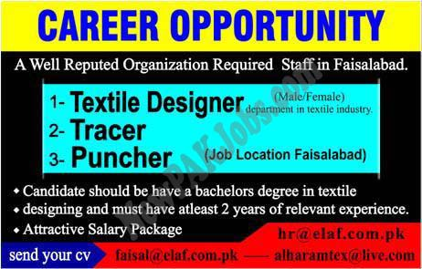 Male Female Staff required in Faisalabad for Textile Designer and Other