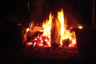 warm log fire
