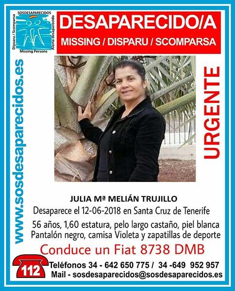Julia maría Melián Trujillo, mujer desaparecida en Santa Cruz de Tenerife
