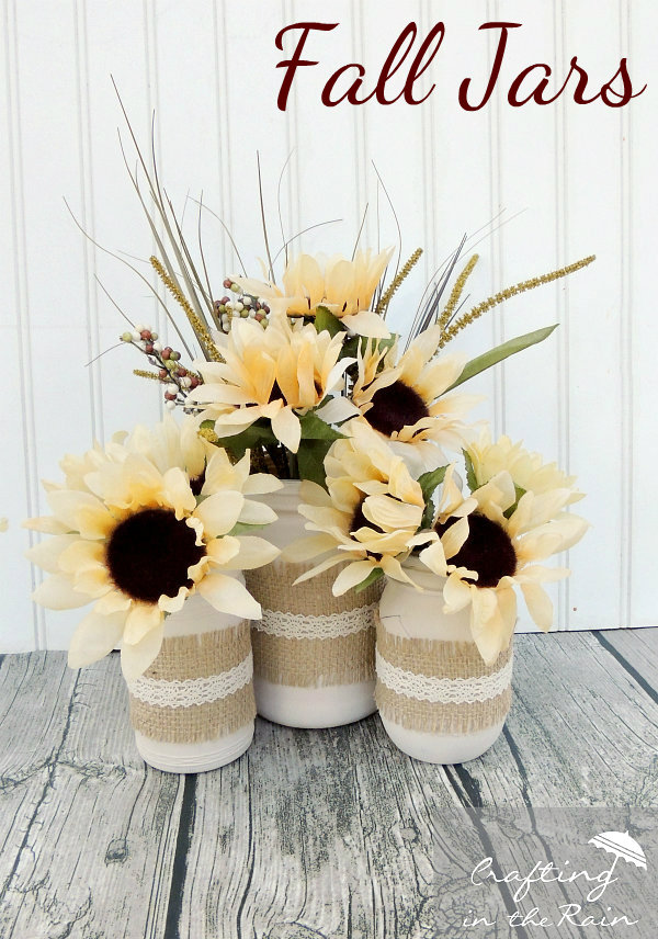 Fall Jars with Dollar Store Flowers by Crafting in the Rain